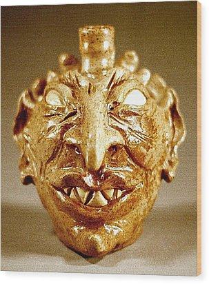 Ahriman As Face Jug Wood Print by Stephen Hawks