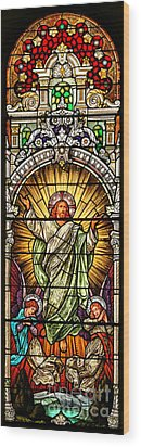 Wood Print featuring the photograph Stained Glass Scene 10 Crop by Adam Jewell