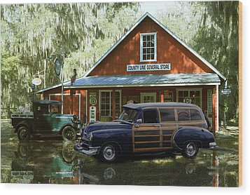 Air Brushed Woody At Country Store Wood Print by John Breen