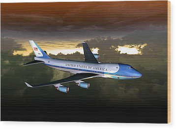 Wood Print featuring the digital art Air Force One 28.8x18 by Mike Ray
