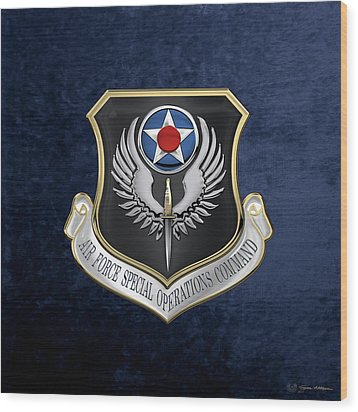 Air Force Special Operations Command -  A F S O C  Shield Over Blue Velvet Wood Print by Serge Averbukh