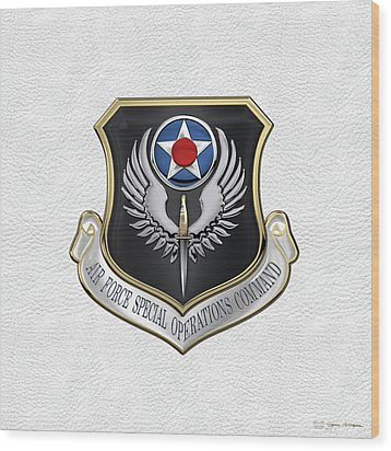 Air Force Special Operations Command -  A F S O C  Shield Over White Leather Wood Print by Serge Averbukh