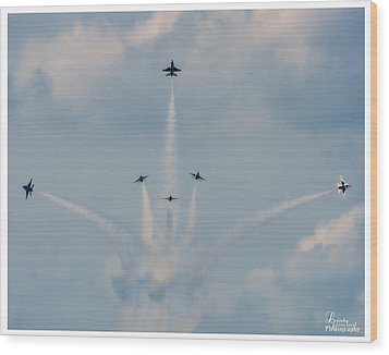 Wood Print featuring the photograph Air Force Thunderbirds by Linda Constant