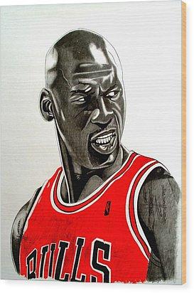 Air Jordan Raging Bull Drawing Wood Print by Keeyonardo