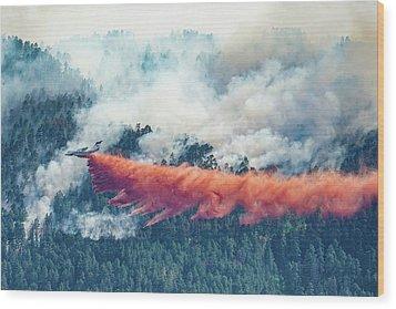 Air Tanker On Crow Peak Fire Wood Print