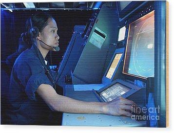 Air Traffic Controller Monitors Marine Wood Print by Stocktrek Images