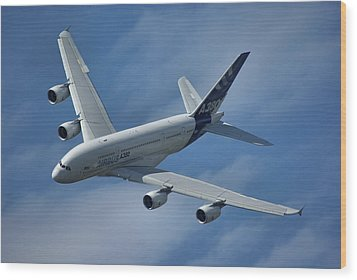Wood Print featuring the photograph Airbus A380 by Tim Beach