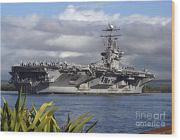 Aircraft Carrier Uss Abraham Lincoln Wood Print by Stocktrek Images