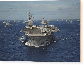 Aircraft Carrier Uss Ronald Reagan Wood Print by Everett