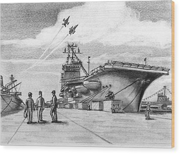 Aircraft Carrier Wood Print by Vic Delnore