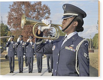 Airman Plays Taps During The Veterans Wood Print by Stocktrek Images