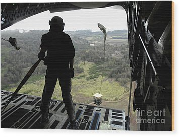 Airman Watches A Practice Bundle Fall Wood Print by Stocktrek Images