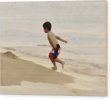 Airplane Boy Wood Print by John Hansen