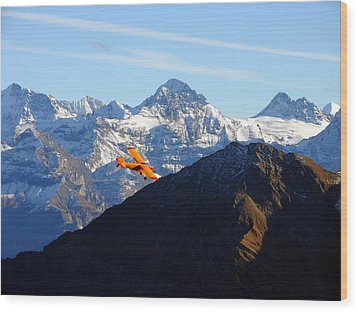 Airplane In Front Of The Alps Wood Print