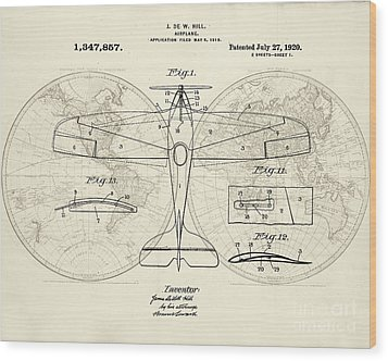 Airplane Patent Collage Wood Print by Delphimages Photo Creations