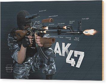 Ak-47 Infographic Wood Print by Anton Egorov