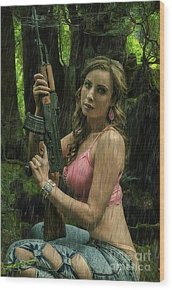 Ak47 In The Rain Wood Print