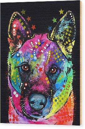 Akita 1 Wood Print by Dean Russo