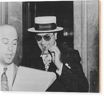 Al Capone, With A Cigar And A Big Wood Print by Everett