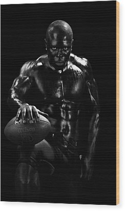 Al Fotball Black And White 1 Wood Print by Val Black Russian Tourchin