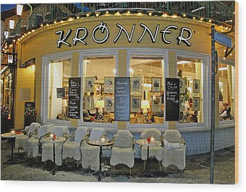 Al Fresco Dining Bavarian Style Wood Print by Robert Meyers-Lussier