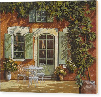 Al Fresco In Cortile Wood Print by Guido Borelli