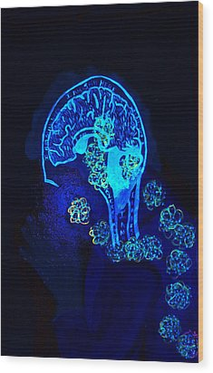 Wood Print featuring the painting Al In The Mind Black Light View by Lisa Brandel