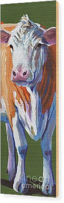 Wood Print featuring the painting Alabama Cow by Pat Burns