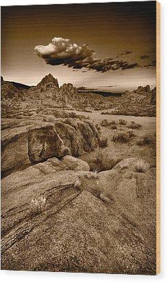 Alabama Hills California B W Wood Print by Steve Gadomski
