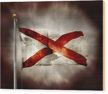 Alabama State Flag Wood Print by Steven Michael