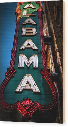 Alabama Theater Sign 1 Wood Print by Phillip Burrow