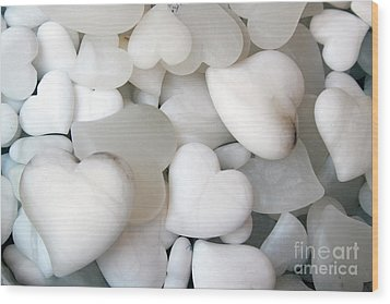 Alabaster Hearts Wood Print
