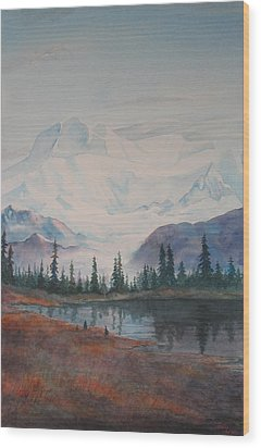 Alaksa Mountain And Lake Wood Print by Debbie Homewood