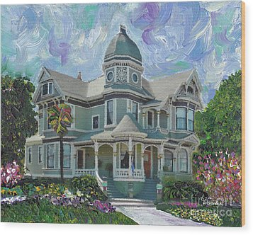 Wood Print featuring the painting Alameda 1893  Queen Anne  by Linda Weinstock