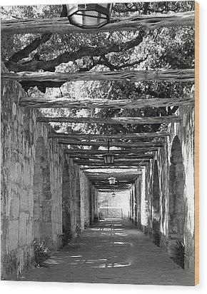 Alamo Corridor Wood Print