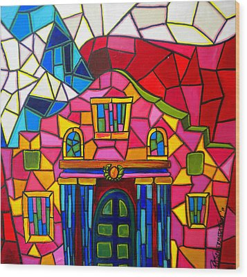 Alamo Mosaic Two Wood Print by Patti Schermerhorn