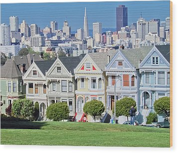 Wood Print featuring the photograph Alamo Square by Matthew Bamberg