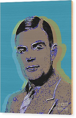 Alan Turing Pop Art Wood Print