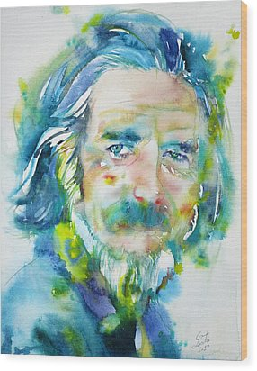 Wood Print featuring the painting Alan Watts - Watercolor Portrait.4 by Fabrizio Cassetta