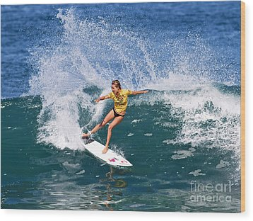 Alana Blanchard Surfing Hawaii Wood Print by Paul Topp