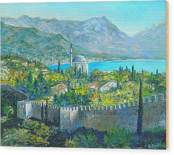 Alanya Turkey Wood Print by Lou Ann Bagnall