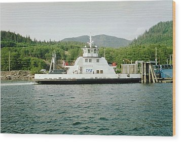 Alaska Boat At Dock Wood Print by Judyann Matthews