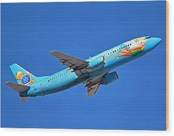 Alaska Boeing 737-490 N791as Tinker Bell Phoenix Sky Harbor January 12 2016 Wood Print by Brian Lockett