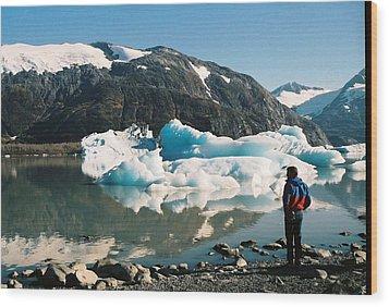 Alaska Glacier Lake Wood Print by Judyann Matthews