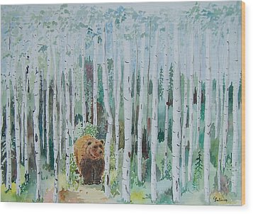 Alaska -  Grizzly In Woods Wood Print by Christine Lathrop