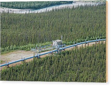 Alaska Pipeline - Koyukuk River Wood Print
