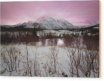 Alaska Range Pink Sky Wood Print