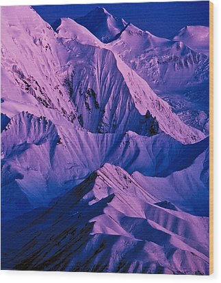 Alaska Range Twilight Wood Print by Tim Rayburn