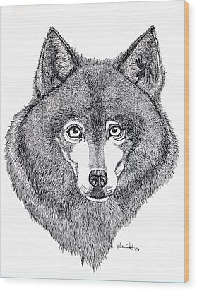 Alaskan Husky Wood Print by Nick Gustafson
