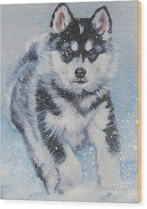 alaskan Malamute pup in snow Wood Print by Lee Ann Shepard
